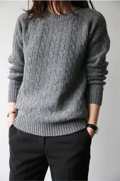 Grey Sweater Black Pants