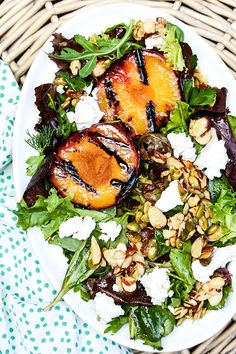 Grilled Plum Salad with Maple-Nut Clusters | www.floatingkitchen.net