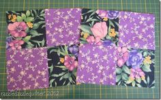 "Magic Four Patch Tutorial  Easy way to make two matching four patches.  Formula: Finished block size plus 1"" e.g. for a 4"" finished block start with 2 x 5"" squares. (I make my pincushions with 5"" squares but the could be made a bit bigger.)"