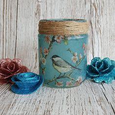 Garden Bird and Blossom Jar, Jar Light, Upcycled nightlight, recycled, rustic, brush holder, vase, sweet jar, blue tit, great tit