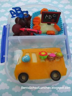 Bento School Lunches: Bento Lunch: Back To School Bus Bento- Day 3