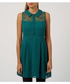 Tenki Green Chiffon Collared Lace Neck Skater Dress  | New Look