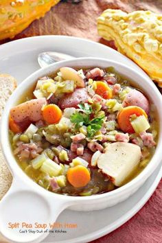 Split Pea Soup with Ham | Can't Stay Out of the Kitchen | this amazing #soup is filled with #veggies #ham and #splitpeas. It's one of our favorite soups. #glutenfree