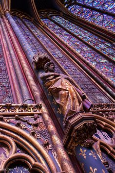 Breathtaking gothic architecture and 13th-Century stained glass windows, 1,113 individual window pieces, 3 panels each 15m high, Sainte Chapelle, Paris.