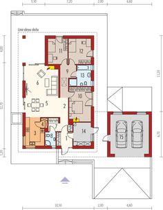 Projekt domu Daniel G2 energo 120,64 m² - koszt budowy - EXTRADOM Modern House Floor Plans, Small House Plans, Modern Architecture House, Modern House Design, Single Storey House Plans, Farm Plans, Beautiful House Plans, Three Bedroom House, Modern Bungalow