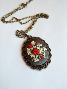 Ivory Red Rose cameo Necklace Boho Chic Jewelry by RedWorkStitches