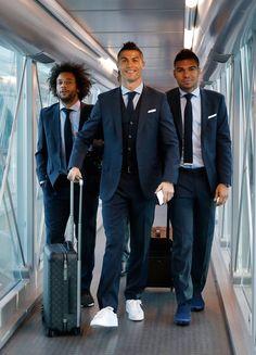 On route to Cyprus   Cristiano, Marcelo & Casemiro