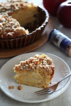 Red ball crumble cake - Pastry World Apple Cake Recipes, Sweets Recipes, Baking Recipes, Cafe Food, Food Menu, Just Cakes, Pastry Cake, Sweet Desserts, Desert Recipes