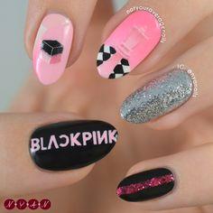 Uñas de Blackpink ddu-du ddu-du creado por Not Your Average Nails Pop Art Nails, Pink Nail Art, Pink Nails, Gel Nails, Acrylic Nails, Korean Nail Art, Korean Nails, Cute Nails, Pretty Nails