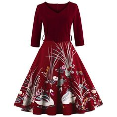 Vintage Printed Belted High Waist Dress ($21) ❤ liked on Polyvore featuring dresses, vintage day dress, waist dress, red dress, vintage dresses and red belted dress