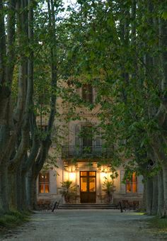 One of my favourite pictures of the year. Château des Alpilles in Provence. The dark surround with an inviting warm glow pulling you in. Luberon Provence, Provence France, Chateau Hotel, Beautiful Homes, Beautiful Places, French Chateau, French Countryside, French Country House, South Of France
