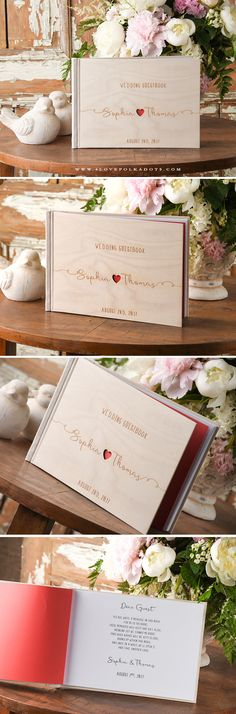 Wedding Wooden Guest Book with Custom Engraving #realwood #weddingguestbook #weddingideas