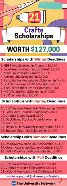 Crafts Scholarships Here is a selection of Crafts Scholarships that are listed on TUN. – College Scholarships Tips School Scholarship, Scholarships For College, College Students, Student Loans, Student Info, Planning School, College Planning, College Fund, Education College