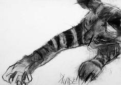 'Oscar Stretching' original charcoal