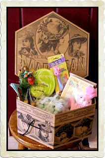 vintage hat box filled with Easter items