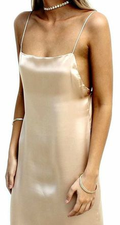 Backless Slip Gown - Satin Silk Champagne - SISTERS THE LABEL 90s style maxi formal dress gold star choker necklace