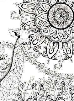 Girafe, mandala, zentangle. https://www.etsy.com/ca-fr/listing/263472578/page-a-colorier-pour-adulte-et-enfant