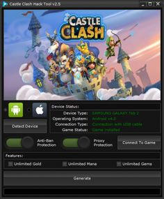 Your searched Castle Clash Hack Tool v2.5: working on iOS and Android. The Castle Clash Hack Tool v2.5 can be activated from Windows and Mac computers.