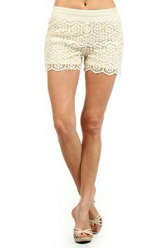 Honeycomb crochet, high waisted, mini shorts with an elastic waist band and scalloped hem. www.swankystarfish.com
