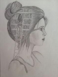 Pin on Kresba Girl Drawing Sketches, Dark Art Drawings, Girly Drawings, Art Drawings Sketches Simple, Pencil Art Drawings, Creative Pencil Drawings, Drawing Eyes, Art Drawings Beautiful, Amazing Drawings