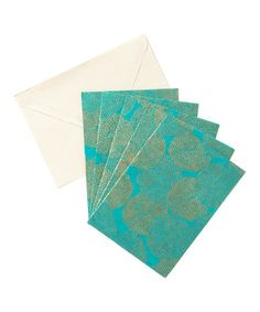 Another great find on #zulily! Sea Green & Gold Mums Five-Piece Note Card Set #zulilyfinds