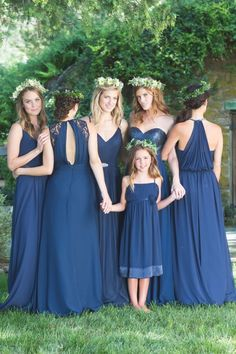 Bari Jay Bridesmaids in navy blue: http://www.stylemepretty.com/2015/11/05/bari-jay-bridesmaids/