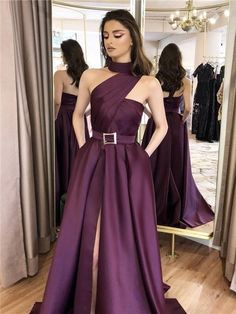 One-shoulder High-neck Split Prom Dresses With Pockets, - A-line One-shoulder High-neck Split Prom Dresses With Pockets, - Long Prom Dresses Deep V Neck Party Dresses Maroon Strapless Ruffles Prom Dresses Split Prom Dresses, Prom Dresses With Pockets, A Line Prom Dresses, Strapless Dress Formal, Evening Dresses, Bridesmaid Dresses, Formal Dresses, Dress Long, Ball Dresses