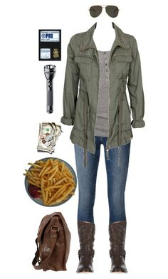 """""""Hunter"""" by ltspork ❤ liked on Polyvore featuring Frame Denim, Nümph, Alice In The Eve, Frye, Yves Saint Laurent, Maglite, F and VIPARO"""