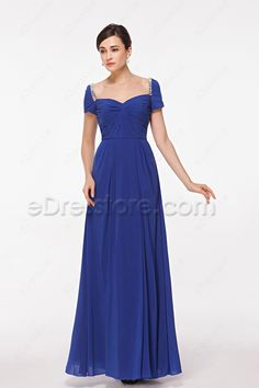 The royal blue modest mother of the bride dress features sweetheart neckline, pleated bodice with short sleeves and crystal decoration around shoulder, A line skirt ends with floor length.