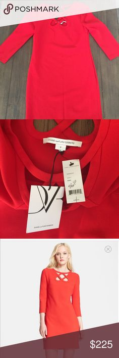 DVF Dress Carmen cutout ceramic dress.  Red size 2. 35' length.  Polyester, cotton, viscose. No trades. Diane von Furstenberg Dresses