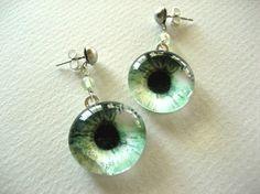 Green Eyes Glass Tile Photo Art Earrings on Etsy, $20.00