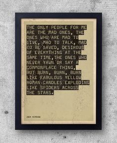 "Jack Kerouac Poster, ""On The Road"" Quote - beat generation, big sur, Allen Ginsberg, jazz, original bestplayever print on Etsy, $12.44"