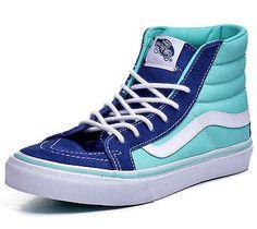 Vans Sk8 Hi Top Shoes Vans Sk8 Hi Slim Men's 2 Tone Twilight Blue Hi Top…