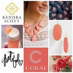 Mothers Day Gift Kendra Scott Coral Pop Color Kendra Scott Jewelry, Color Pop, Mothers, Pendant Necklace, Drop Earrings, Gifts, Celebs, Jewels, Presents