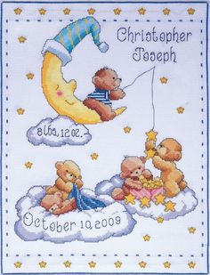 This charming birth sampler made up of a peaceful night sky with five cute little bears and a delightful, smiling moon creates a heart-warming image. £23.00 | Past Impressions