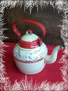 Vintage enamelware red gold and cream teapot by PawhillTreasures