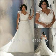New Arrival 2014 Stunning Brides Custom Made Cap Sleeve Lace Plus Size Wedding Dress Bridal Gown(China (Mainland))