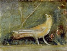 Empress Livia's Garden : Bird with Daisies. This fresco room, originally housed in Livia's Villa at Prima Porta a few miles north of the Rome, has been transported to the National Museum of Rome.