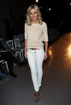 Mollie King Stylish in Basics : White Skinnies + Cream Sweater + Brown Accessories