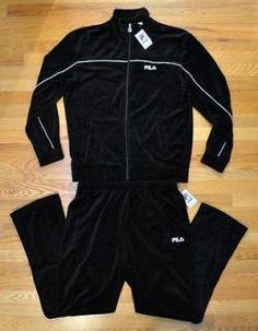 NEW FILA MEN VELOUR BLACK TRACK SUIT JACKET PANTS SZ XL