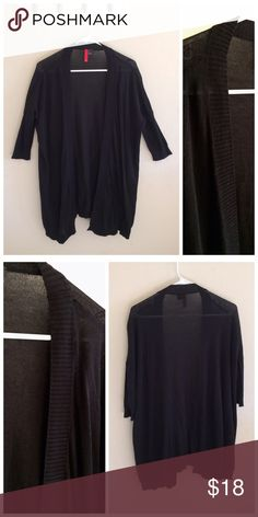 """Black sleeved cardigan Gently worn. The fit is very loose and flowy.   Size: 2  Length: 32"""" Sleeve length: 16"""" Width: 27"""" (total width around: 57"""")  100% Cotton Made in Bangladesh H&M Sweaters Cardigans"""