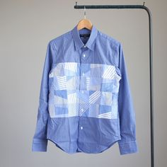 COMME des GARCONS HOMME - STRIPE MIX PATCH WORK SHIRT #blue×white