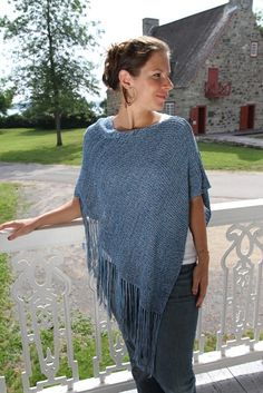 Poncho, Shawl or Capelet with fringes bamboo knitting -Blue shades