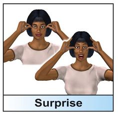 sign: SURPRISE  learn sign language with HearMyHands  www.hearmyhandsasl.com  don't forget about our app giveaway!