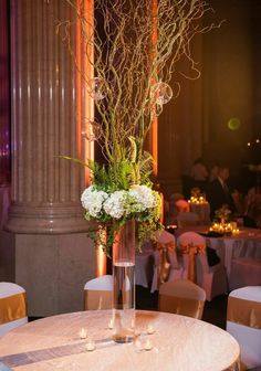 Elegant centerpiece made with hydrangeas, ferns and tree branches by Southern Event Planners, Memphis weddings, photo by Snap Happy