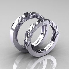 Modern Italian 14K White Gold Diamond Wedding by DesignMasters, $1929.00
