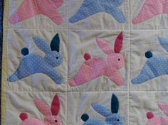 Homemade baby bunny rabbit quilt pink blue by createdbymammy,