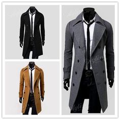 3 Colors Mens Trench Coat Slim Winter Warm Long Jackets Outwear Double Breasted Overcoat