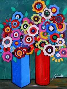 Folk Art whimsical Still Life Painting by Prisarts; great gift ideas, mother's day, birthday, house warming gift, anniversary. Nursery, room design #mexicanpainting #prisarts