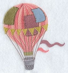 Patchwork Balloon and Thimble Basket design (F2726) from www.Emblibrary.com